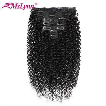 Perwersyjne kręcone wiązki peruwiańskie pasma włosów klip w doczepy z ludzkich włosów 8 sztuk zestaw 120Gram Mslynn pasma włosów typu Remy tanie i dobre opinie CN (pochodzenie) Włosy remy NONE Peruwiańskie włosy Peruvian Hair Weave Bundles kinky curly bundles can be dyed to #27 color