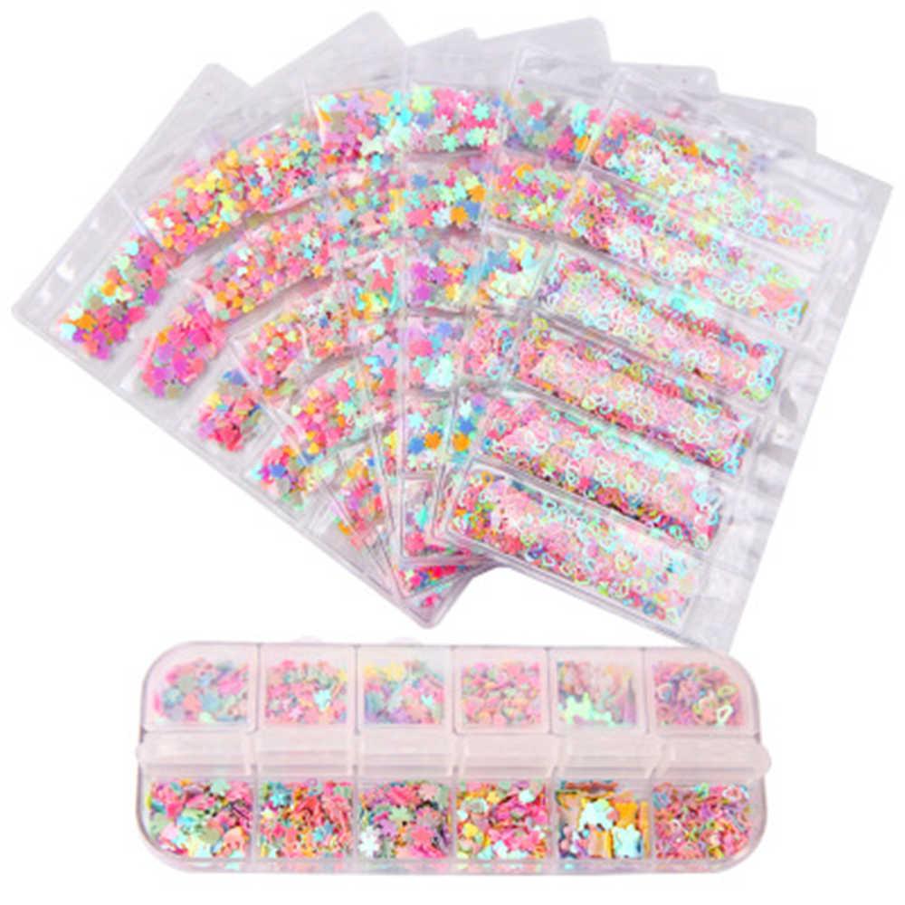 8 gatunków cukierkowe kolory motyl Nail Art plastikowe błyskotka zdobienie paznokci DIY Manicure ozdoby do paznokci paznokci cekiny paznokci brokat