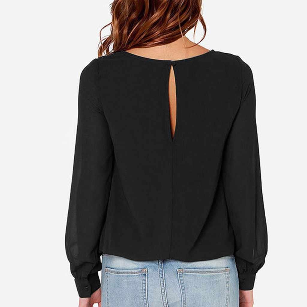 Femmes grande taille col rond à manches longues confortable décontracté femme bureau travail usure haute qualité Blouse chemises nouveau hauts à la mode 2019
