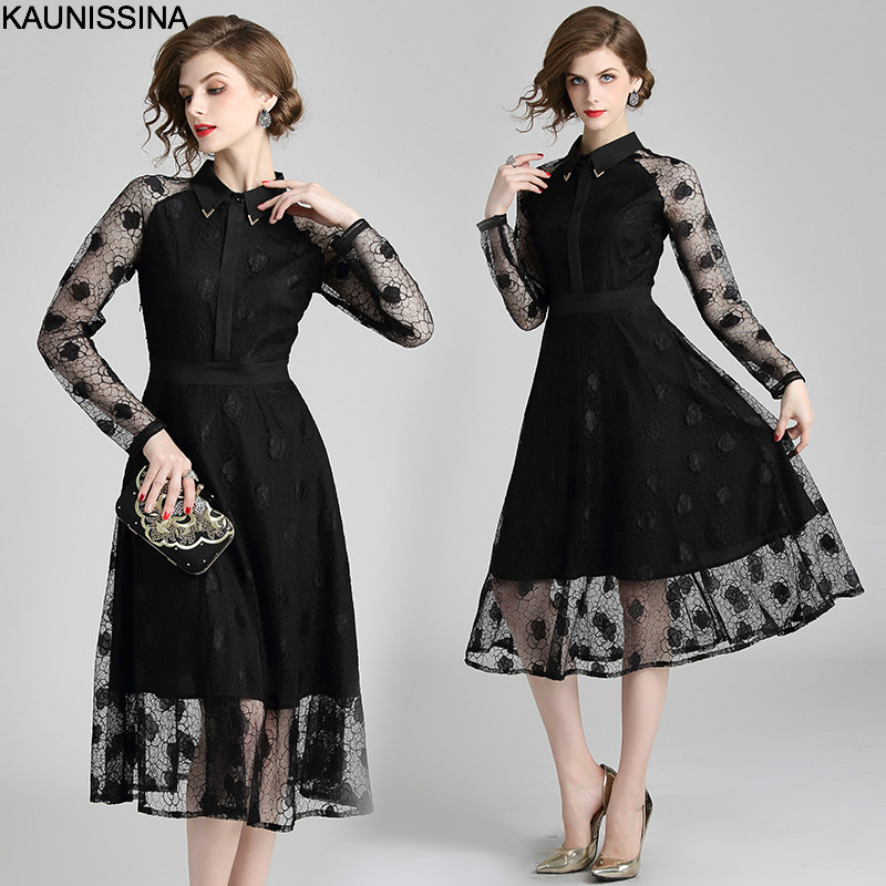 KAUNISSINA Lace Cocktail Dresses Black Elegant Homecoming Robe Long Sleeve Turn Down Collar High Quality Party Proms Gown