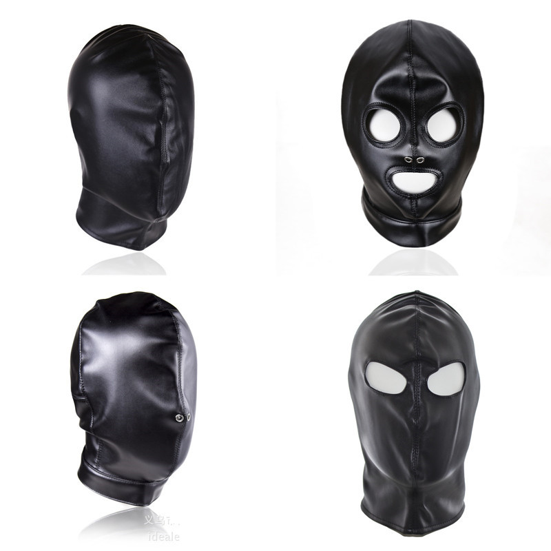 Leather Bondage BDSM Mask Hoods Fetish Gay Toys Full Head Restraints Headgear Mask Adult Sex Toys for Women Men Erotic Sex Shop
