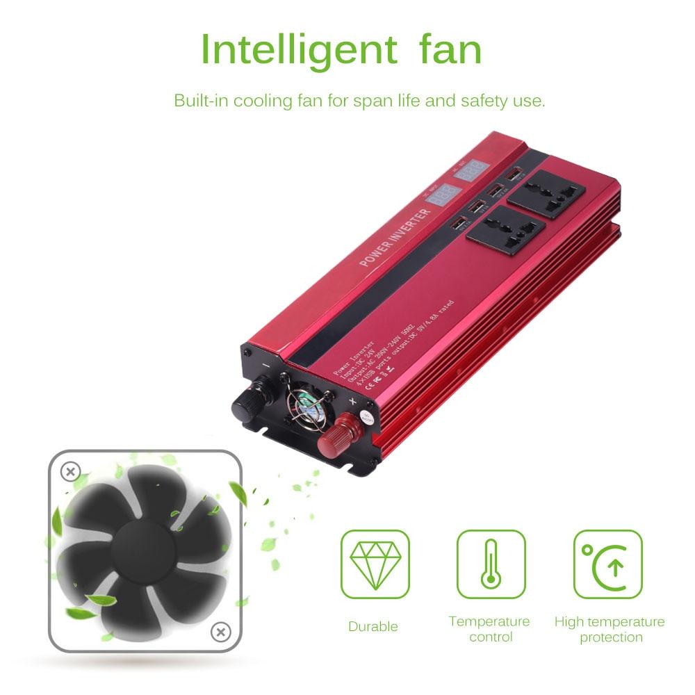Image 3 - Onever 5000W Solar Car Power Inverter DC12/24V To AC110/220V  Converter Digital Display 4 USB InterfacesCar Inverters   -