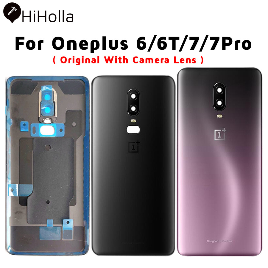 Original Back Glass Cover Oneplus 6 6T 7 Pro Back Cover One Plus 6 Rear Door Housing Case Oneplus 7 Battery Cover+Camera Lens