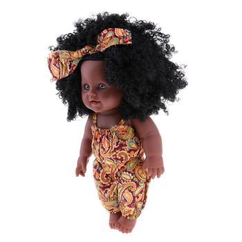 """Baolaze полностью виниловая Детская кукла-Reborn 12 """"африканская американская кукла-черные волосы"""