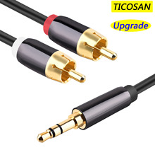 TICOSAN RCA Cable DC3.5  to 2RCA  Audio Cable  RAC Aux Cable For phone Edifer Home Theater DVD 2RCA audio cable  1m 2m 3m 5m аксессуар inakustik star mp3 audio cable 3 5 phone 2rca 1 5m 003100015