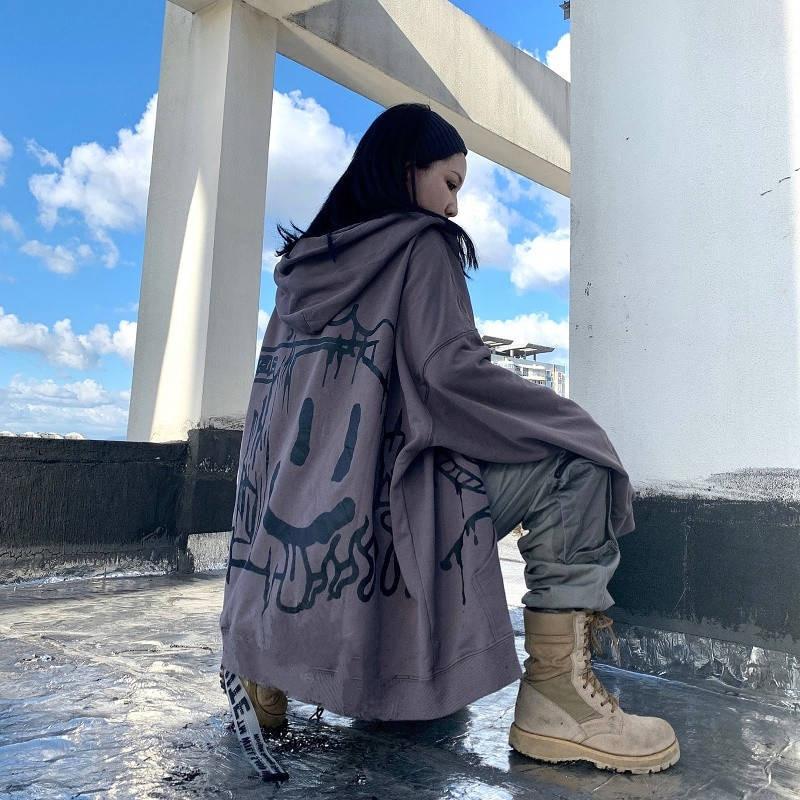 Korean Punk Hoodie Women Harajuku Smile Print Hoodies Funny Hip Hop Winter Tops Autumn Cool Japan Jacket Streetwear Females