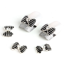 Special Silver Black Bow Tie 10 pieces Silver 3D Alloy Nail Art Slices Glitters DIY Decorations