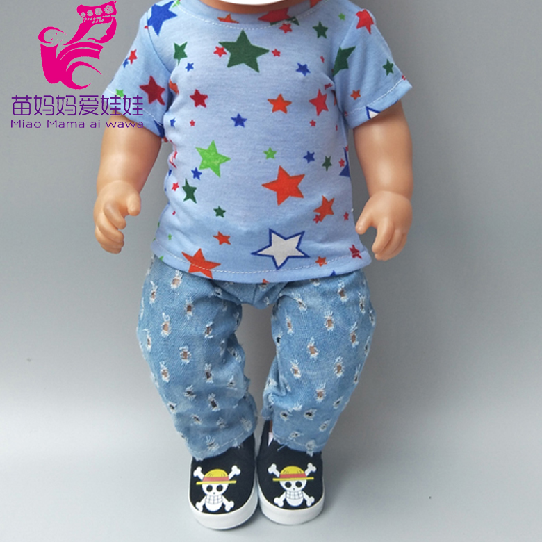 18 Inch Doll Clothes Fits 43 Cm Baby Doll Clothes Boy Doll T-shit Cowboy Baby Doll Wearing