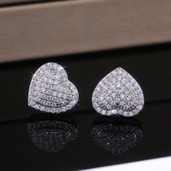Huitan Classic Design Dazzling Heart Stud Earrings for Women High Quality Romantic Female Accessories Timeless Styling Jewelry