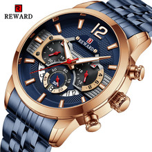Recompensa 2021 novos relógios masculinos à prova dwaterproof água aço inoxidável cronógrafo moda esportes relógio de quartzo relógio de pulso masculino