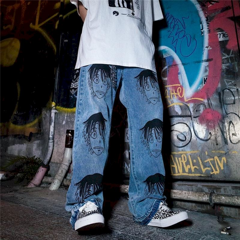 NiceMix anime high waist pants women jeans sweatpants wide leg straight plus size casual streetwear trousers couple Ankle-Length