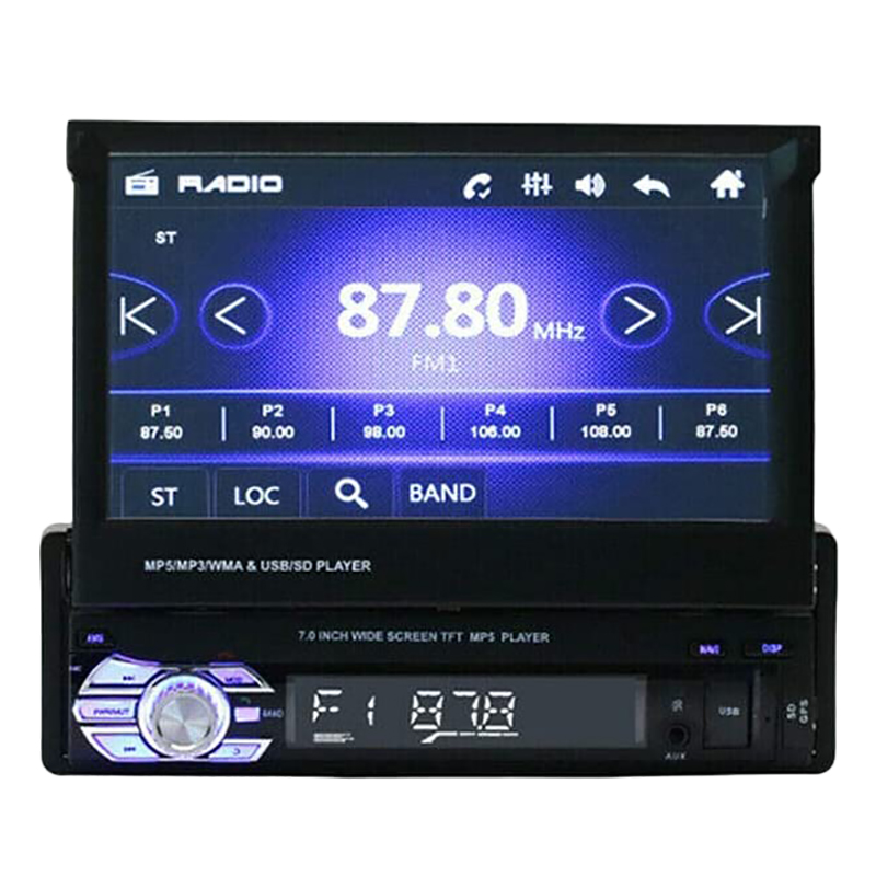 Car Stereo MP5 Player 7 Inch Retractable Press Screen Support 1080P USB Port Bluetooth AUX FM/AM Radio image