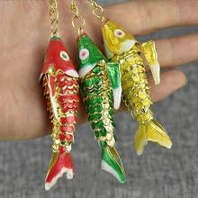 5.5cm 8.5cm lifelike Swing Enamel Koi Fish Keychain Keyring Women Men Kids
