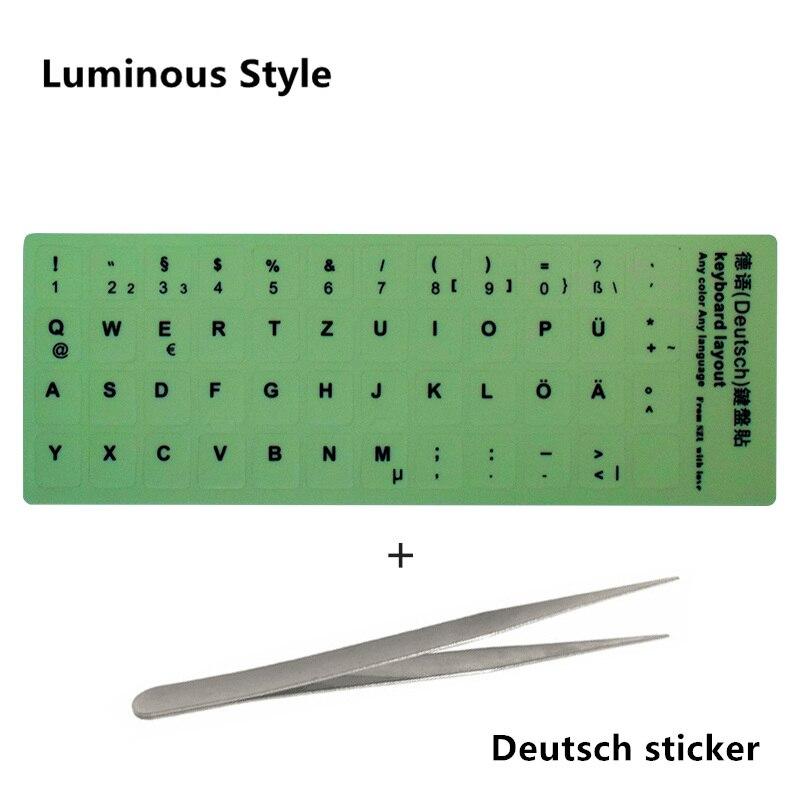 NEO STAR прозрачные и светящиеся наклейки на клавиатуру русский/испанский/английский/французский/немецкий/Корейский буквы защитный чехол для ноутбука - Цвет: 14 Deutsch sticker