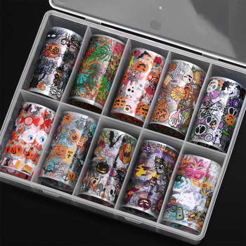 10 Pcs/Set 3D DIY Christmas Halloween Starry Sky Nails Art Transfer Stickers Holographic Nail Foil Decals Manicure Decorations all 3d laser holographic nail stickers for nails manicure nail art decals stickers decor decorations things