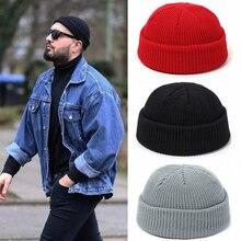Вязаная шапка мужская, мужская кепка с черепом,шапка женская зимняя теплая ретро кепка без козырьков, мешковатая кепка с дыней, черные манжеты, шапки-бини для мужчин