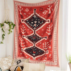 Bohemian Tapestry Wall Hanging Moroccan Red Totem Art Psychedelic Tapestry Wall Fabric Carpet Blanket Boho Decor Home Headboard(China)