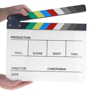 ALLOYSEED Acrylic Colorful Clapperboard Clapper Board Dry Erase Director Cut TV Movie Film Action Slate Clap Handmade Cut Prop