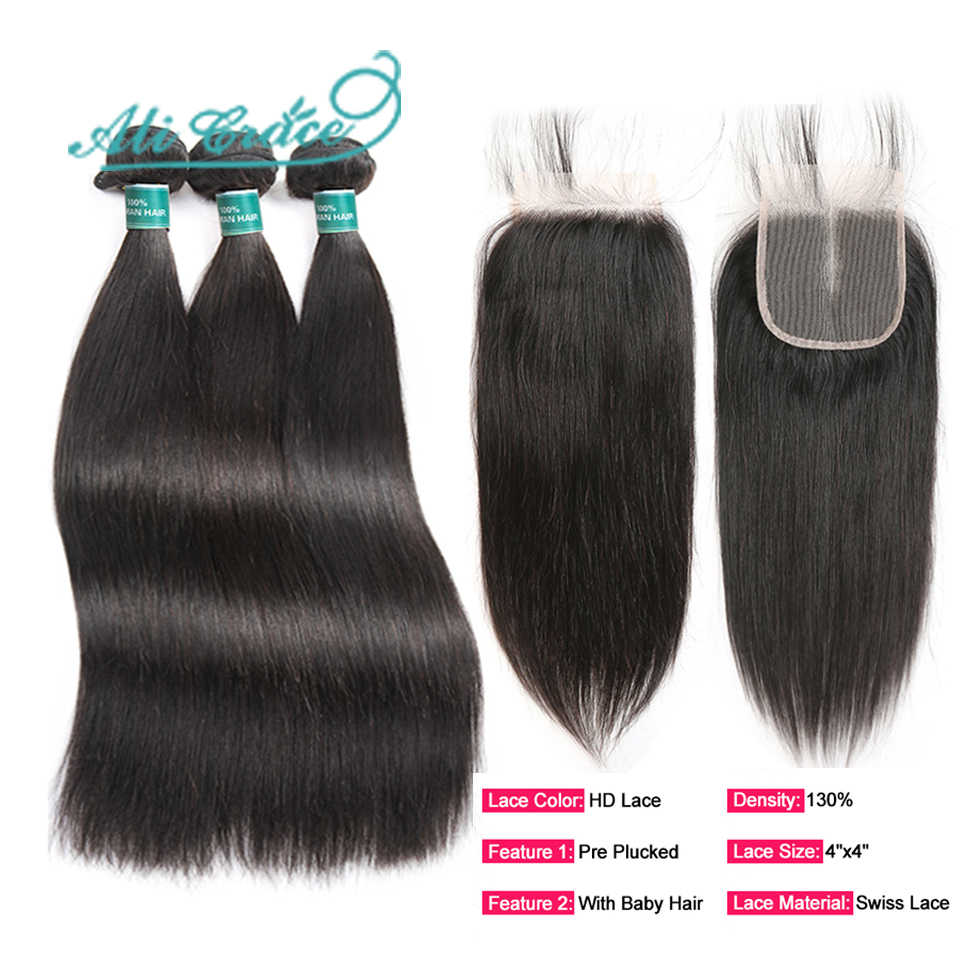 Brazilian Straight Hair Bundles with HD Lace Closure HD Lace Closure with Bundles Lace 3 Bundles Human Hair with HD Closure