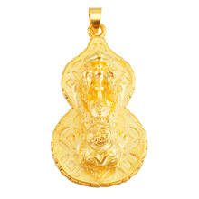 24K gold jewelry gourd shape Lucky Pendant Necklace for Women Fashion gold Jewelry & Accessories DIY new authentic 24k 999 yellow gold pendant 3d lucky rose pendant 1 18g