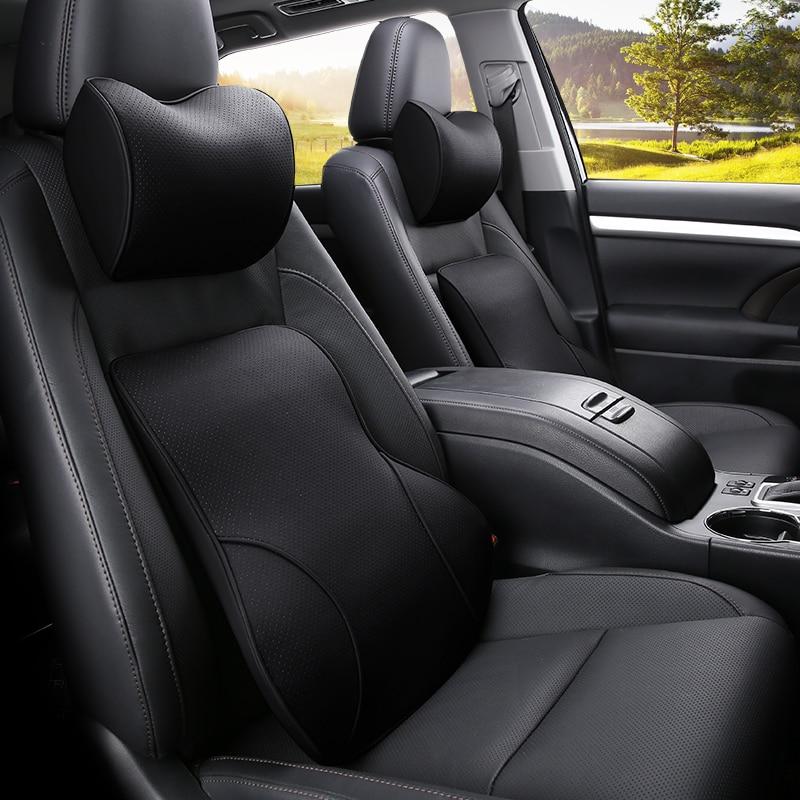 KKYSYELVA PU Car Auto Seat Supports Back Cushion And Headrest Neck Pillow Memory Foam Lumbar Back Support Interior Accessories