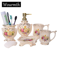 European Elegant Bathroom Set Ceramic Mouth Cup With Handles Five piece Toiletries Soap dish Lotion bottle New Wedding Products