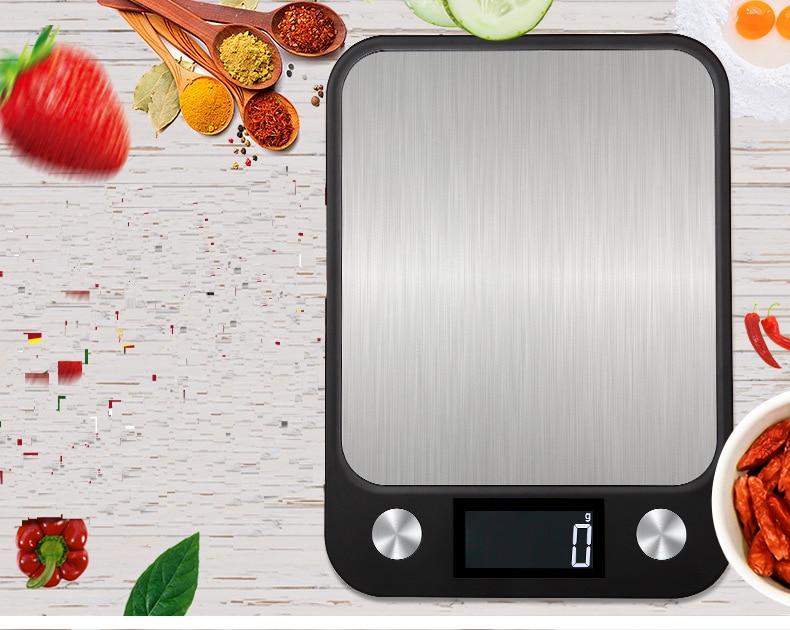 Высокое качество 10 кг/1g Многофункциональный ЖК-дисплей Дисплей цифровой Еда Кухня весы Нержавеющаясталь для взвешивания пищевых продуктов Еда Пособия по кулинарии инструменты-2