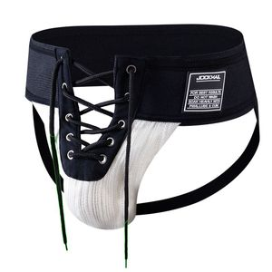 "Jockmail Sexy Thongs Mens Footballer Lace Up Jockstrap,3.15"" Waistband Front Lacing,Gay Penis String Open Underwear,US Size M~XL(China)"