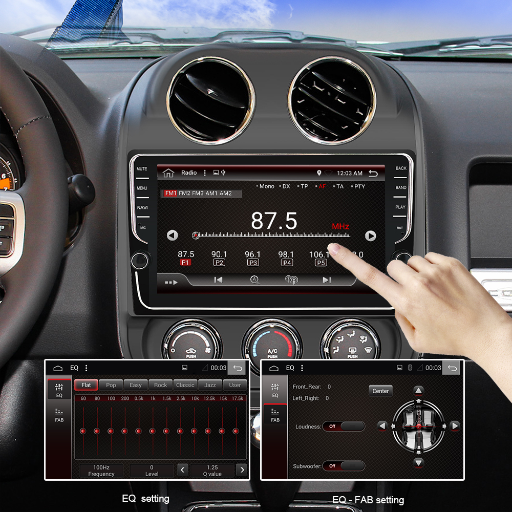 Eunavi 9 zoll Android 9.0 2 Din Auto Radio GPS Navi Stereo Für JEEP Compass Patriot Radio 2007-2016 WIFI 4G + 64G RK3399
