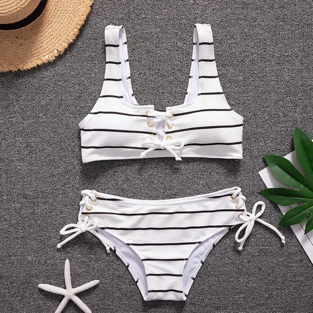 White Stripe Bandage Bikinis