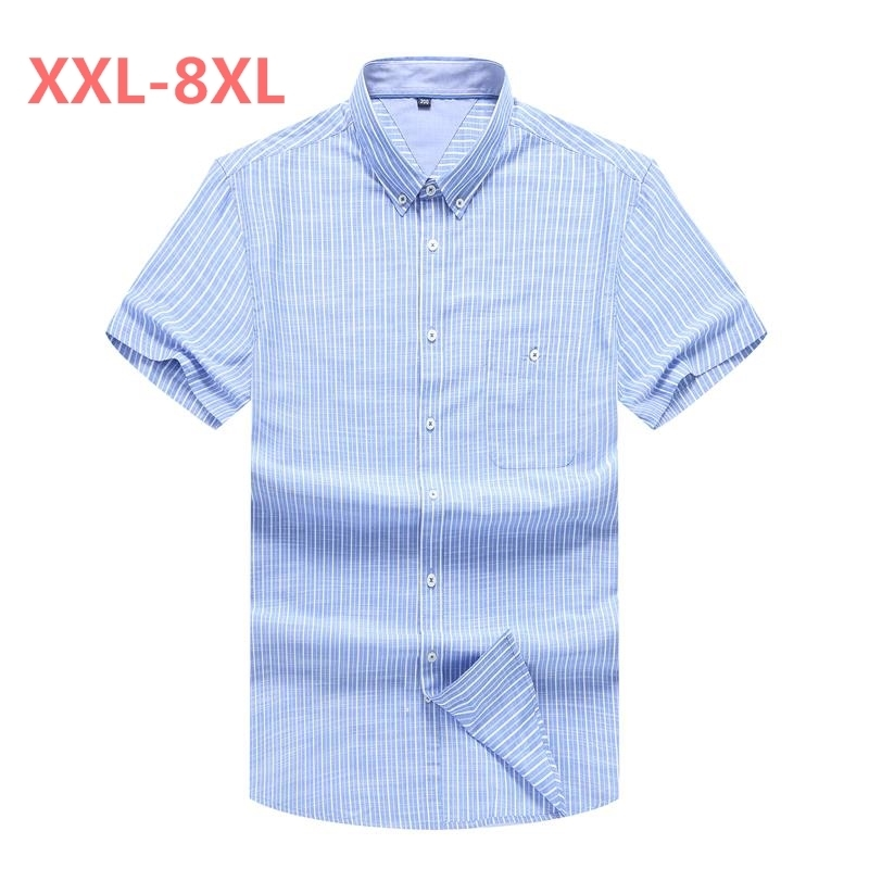 Plus Size 10XL 8XL 6XL 5XL New Style Short Shirt Men Brand Clothing Fashion Striped Shirt Male Top Quality Cotton Casual Shirt