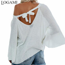 LOGAMI Lace Up Backless Pullovers Women Flare Sleeve Loose Sexy Thin Sweater Womens Knitting Pullover(China)
