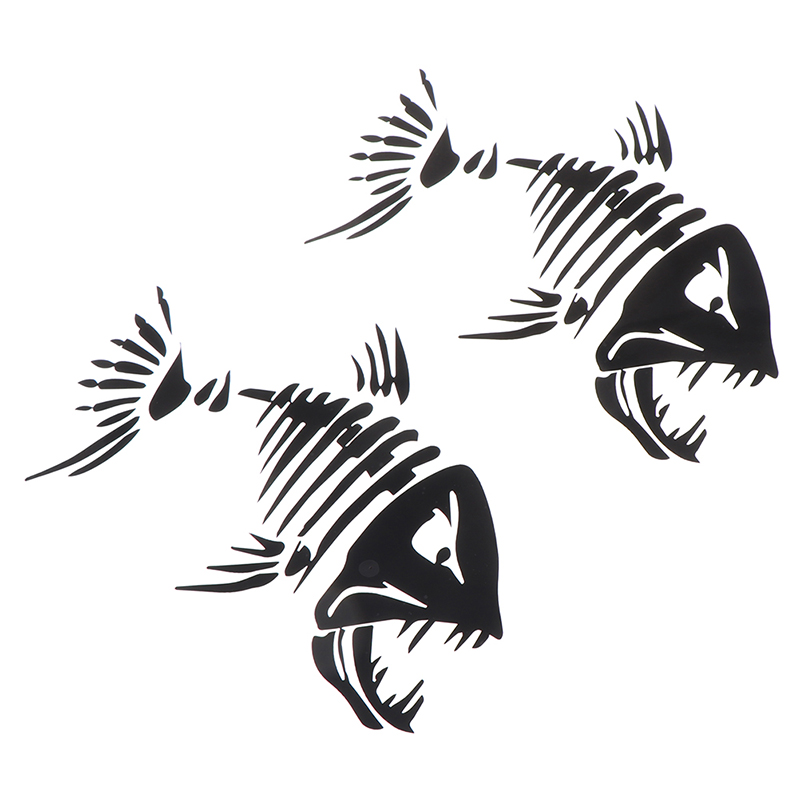 2 Pcs Fish Teeth Mouth Stickers Skeleton Fish Stickers Graphics Accessories For Kayak Fishing Boat Canoe Dinghy Window Car