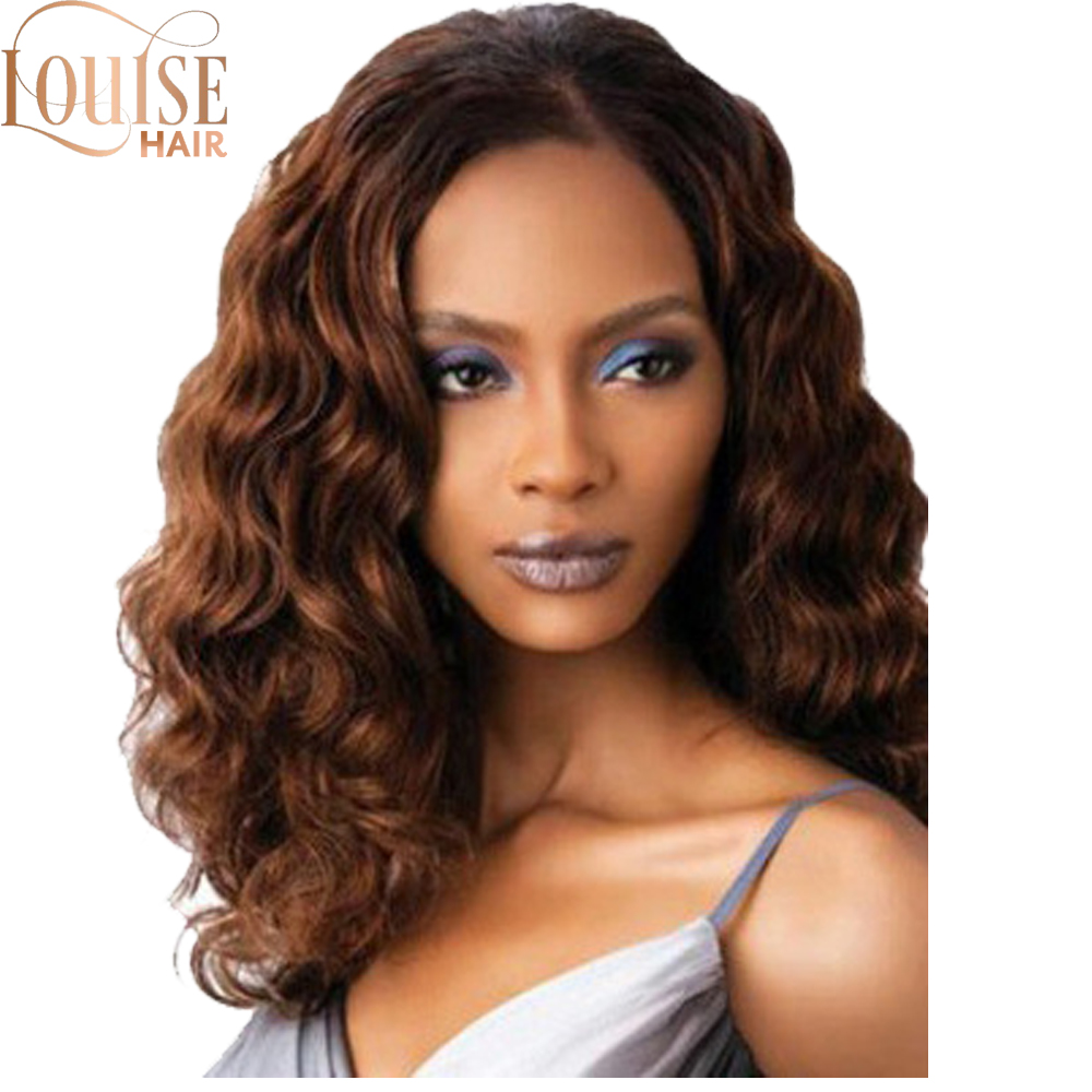 Louise Hair Women's Drak Brown Natural Short Curly Hair Synthetic Full Wig  Female Synthetic Hair Finger Wave Wig Cosplay
