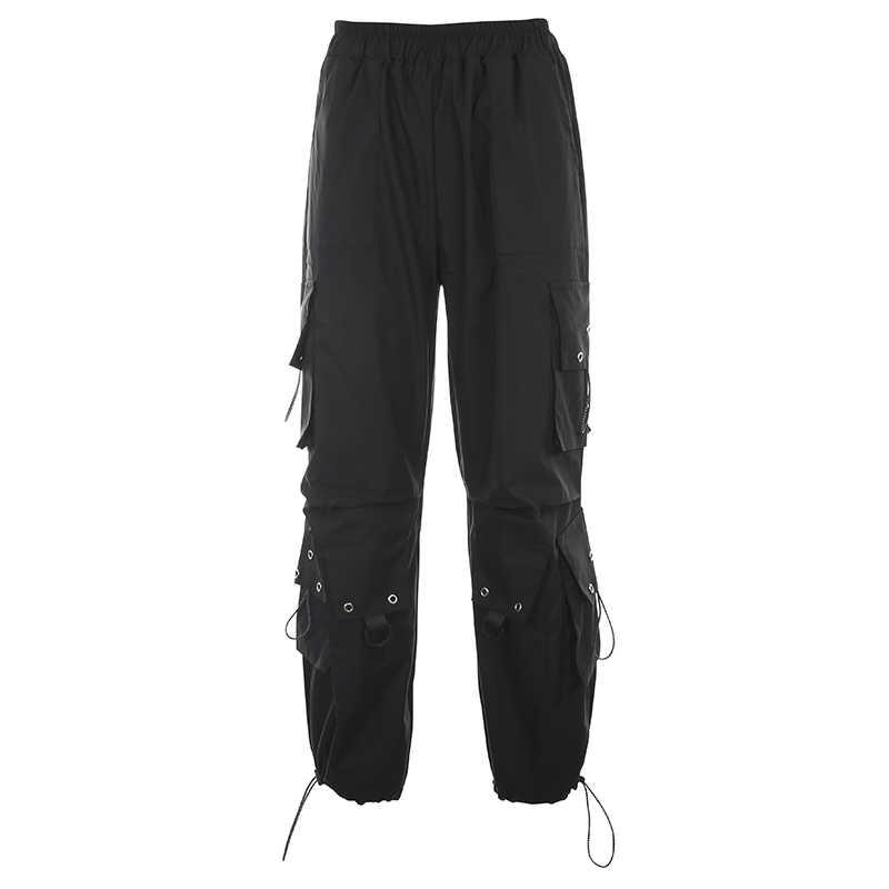 季節ルーズポケットヒップホップパンツカジュアル黒ハイウエスト貨物ズボンの女性のファッション原宿 ASPA80564