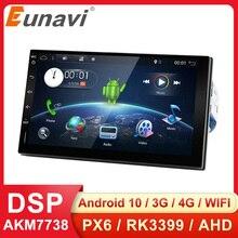 Eunavi Radio Multimedia con GPS para coche, Radio con reproductor, navegador, Universal, Pantalla IPS táctil, Subwoofer, 2 Din, para Nissan, Toyota, WIFI