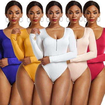 Women Zipper O Neck Long Sleeve Bodysuits Sexy Skinny Short Rompers Casual Elastic Bodycon Beach Ladies Jumpsuits 2020 autumn winter casual jumpsuits women rompers solid sexy long sleeve o neck bodysuit bodycon rompers women bodysuits romper