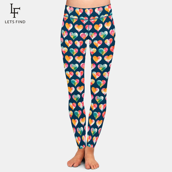 LETSFIND 2021 Fashion 3D Sweet Valentine's Pattern and Hearts Print Women Leggings High Waist Fitness Soft Leggings Plus Size 1