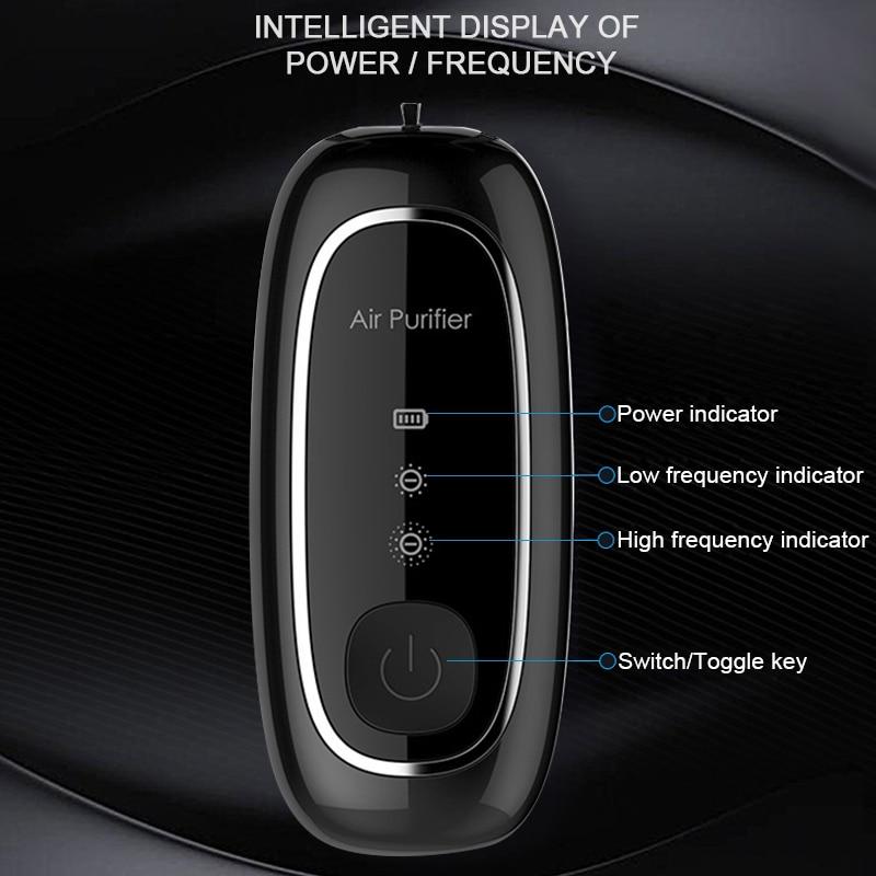 Fashion Personal Wearable Air Purifier Necklace Mini Portable Air Freshener Ionizer Negative Ion Generator Black air purifier 5