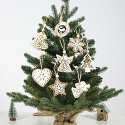 2pcs New Year 2020 Gift Natural Wooden Christmas Tree Pendants Christmas Ornaments Decorations for Home Adornos De Navidad 2019 1