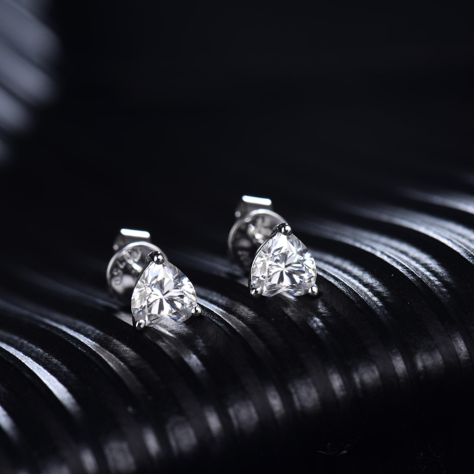 Femmes Moissanite boucles d'oreilles goujon solide 14K or blanc 1ct 2ct coeur brillant Moissanite pour Layd fiançailles OL Style bijoux de mode - 4