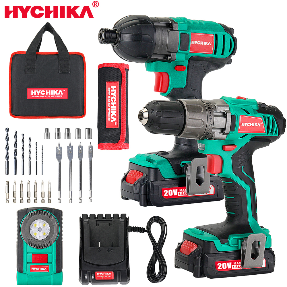 HYCHIKA Electric Drill 18V Cordless Electric Screwdriver Mini Wireless Power Driver Tools Set With dremel Accessories Makita