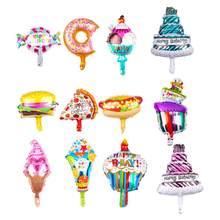 5-6 unids/bolsa nuevo Mini Donut pastel de cumpleaños Pizza comida globo de papel de aluminio de vacaciones de los niños suministros de decoración para fiesta
