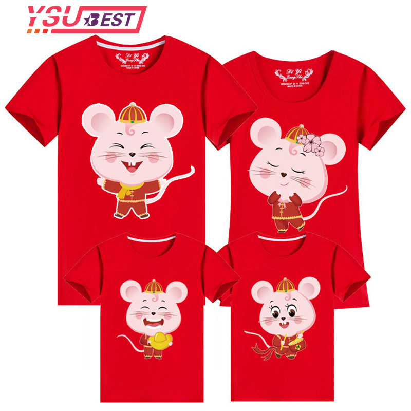 New Year Mouse Family Look For Dad Mom And ME 2020 Father Mother Daughter Son Christmas Cotton T-shirt Family Matching Clothes