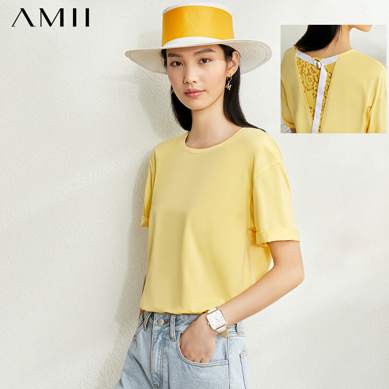 AMII Minimalism Spring Summer Lace Splice Women Tshirt Causal Oneck Short Sleeves Loose Female Tshirt 12070167