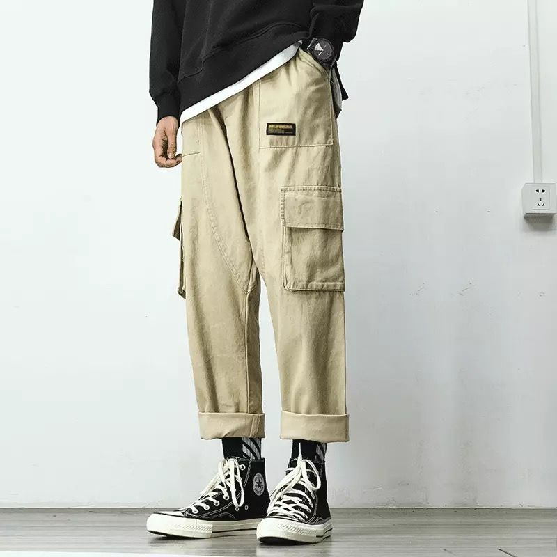 Cargo Pants Men Streetwear Hip Hop Pants Elastic waist Harem Ankle length Trousers Black Army green Harajuku Loose Casual Pocket