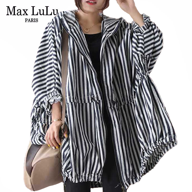 Max LuLu 2020 Autumn Korean Style Clothes Long Streetwear Women Hooded Striped Trench Coats Ladies Casual Windbreakers Plus Size