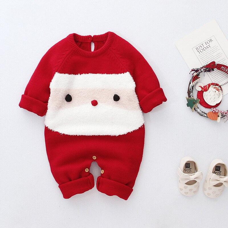 LOOZYKIT; Рождественский Шерстяной Вязаный комбинезон для маленьких девочек; цельнокроеный теплый зимний комбинезон с длинными рукавами для маленьких мальчиков; одежда - Цвет: Красный