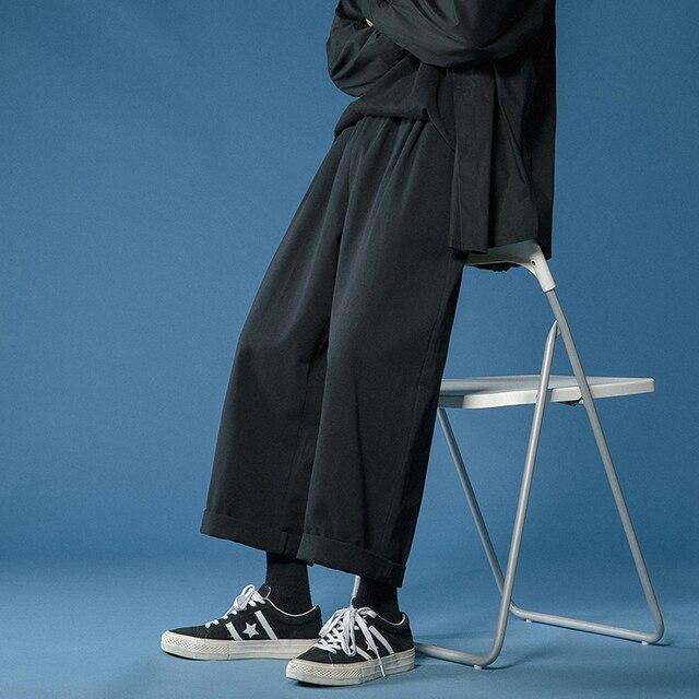 Legible 2021 Women Pant Casual Cotton Wide Leg Pants Retro Ankle Length Elastic Waist Loose Trousers Female 3