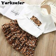 Kids Girl Summer Clothes Set Short Sleeve Basic Shirt and Le